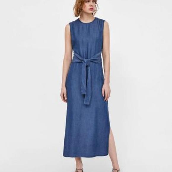 a91967d3 zara Dresses   Denim Long Maxi Dress Tie Belt Flowy Medium   Poshmark
